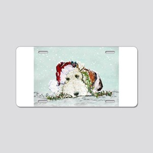 Fox Terrier Christmas Aluminum License Plate